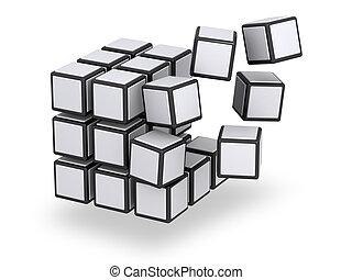ある, 立方体, 分解した, 組み立てられた, ∥あるいは∥