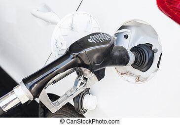 ある, 自動車, ガソリン, 補充された