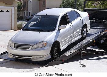 ある, 自動車, 離れて, けん引された