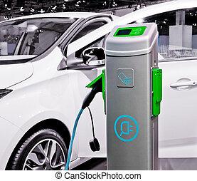 ある, 自動車, 電気である, charged., プラグイン