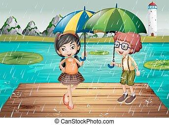 ある, 雨, 子供