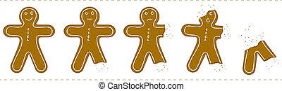 ある, gingerbread, 食べられた, 人