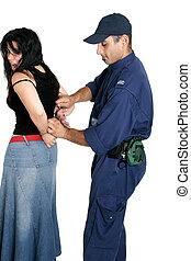 ある, handcuffed, 容疑者, 泥棒
