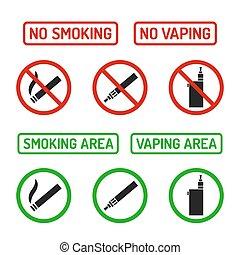 いいえ, サイン, セット, 喫煙