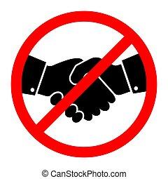 いいえ, ベクトル, 握手, icon., イラスト