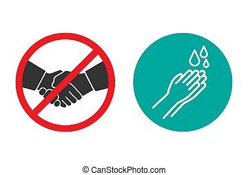 いいえ, 握手, デザイン, 手, アイコン, 平ら, 洗浄
