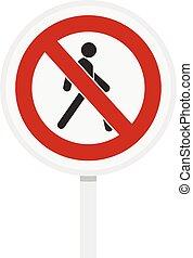 いいえ, 歩行者, 交通標識, アイコン, 平ら, スタイル