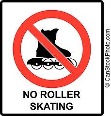 いいえ, 隔離された, ステッカー, rollerblades, 禁止, 印, ベクトル, どうか, 白