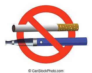 いいえ, e-cigarette, ベクトル, 喫煙, 現実的, ない, 印, 円, 電子, 割り当てられる, 禁止令...