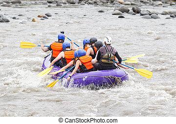 いかだで運ぶこと, whitewater, 川, グループ, 人々