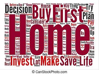 いかに, しなさい, i, 投資しなさい, ∥ために∥, 私, 最初 家, テキスト, 背景, 単語, 雲, 概念