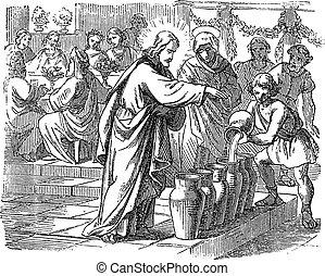 いかに, 水, イエス・キリスト, 変化する, 聖書, 図画, 2, 聖書, 新約聖書, ジョン, 物語, 型, ワイン。, 新しい