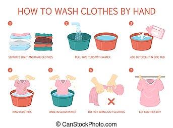 いかに, 洗うために, 衣服, step-by-step, ガイド, ∥ために∥, 主婦