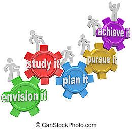 いかに, 計画, 人々, の上, 上昇, 目的を達しなさい, ギヤ, envision, 追求しなさい