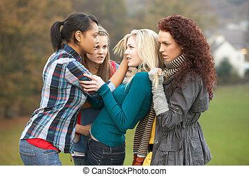 いじめ, 女の子, グループ, ティーネージャー, 女性
