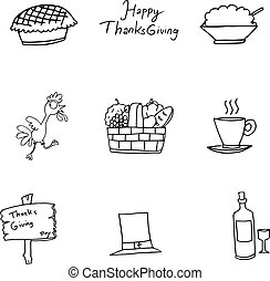 いたずら書き, の, 感謝祭トルコ, フルーツ