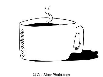 いたずら書き, カップ, 引かれる, 手, コーヒー