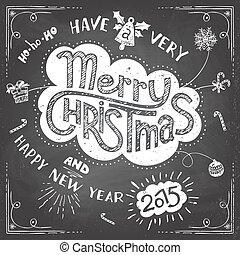 いたずら書き, クリスマス, 陽気, 黒板