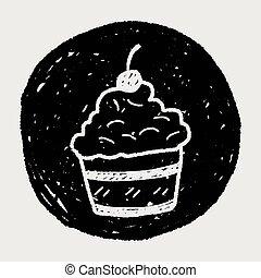 いたずら書き, ケーキ