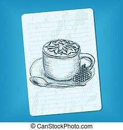いたずら書き, コーヒーカップ