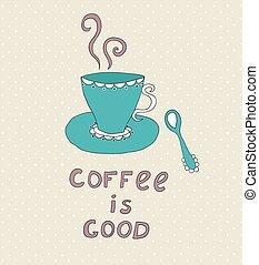 いたずら書き, コーヒー, アイコン, hand-drawn, カップ