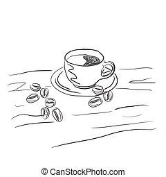 いたずら書き, コーヒー, スタイル, スケッチ, アイコン
