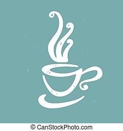 いたずら書き, コーヒー, 手, 引かれる, カップ