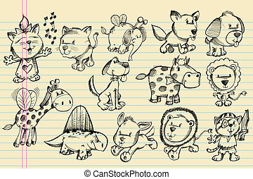いたずら書き, スケッチ, ベクトル, セット, 動物
