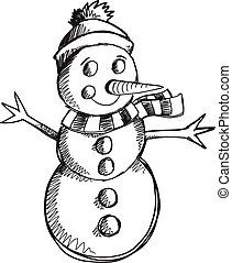 いたずら書き, スケッチ, 雪だるま, ベクトル, 芸術