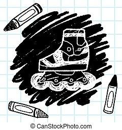 いたずら書き, スケート, ローラー