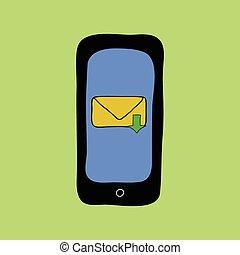 いたずら書き, スタイル, メッセージ, inbox, 電話