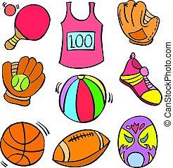 いたずら書き, スポーツ, 様々, コレクション, オブジェクト