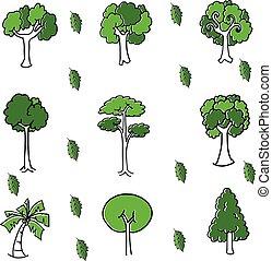 いたずら書き, セット, 緑の木