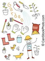 いたずら書き, セット, 道具, 庭