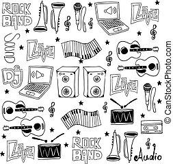 いたずら書き, セット, 音楽, 道具