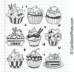 いたずら書き, セット, cupcake