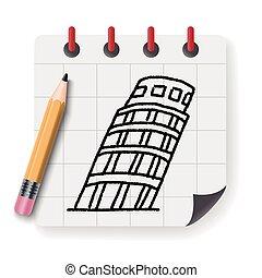 いたずら書き, タワー, pisa, 傾倒