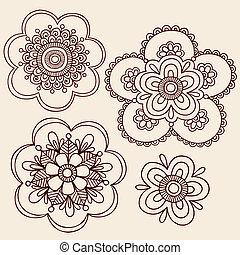 いたずら書き, デザイン, ベクトル, henna, 花