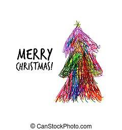 いたずら書き, デザイン, 木, あなたの, クリスマス