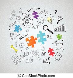 いたずら書き, パズル小片, スケッチ, 概念, 手, ドロー