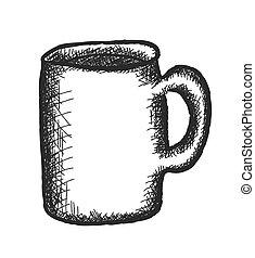 いたずら書き, ベクトル, カップ, コーヒー