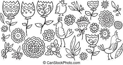 いたずら書き, ベクトル, セット, 花, 鳥