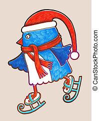 いたずら書き, ペンギン, アイススケート, マーカー, イラスト, 陽気, christmas!, 幸せ, 新しい, year!