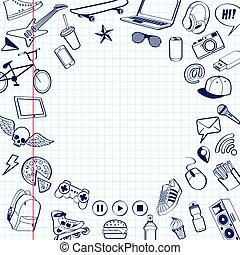 いたずら書き, ページ, ペーパー, まっすぐにされた, 背景, drawn., セット, ペン, margin., ベクトル, notebook., イラスト, 赤い白