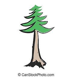 いたずら書き, マツ木, アイコン, ベクトル