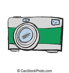 いたずら書き, レトロ, カメラ, アイコン, ベクトル