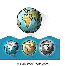 いたずら書き, 地球, セット