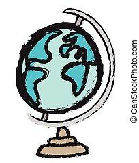 いたずら書き, 地球, ベクトル, アイコン