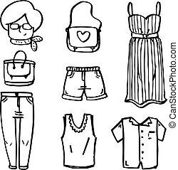 いたずら書き, 女性, コレクション, 衣服