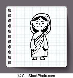 いたずら書き, 女, indian
